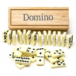 Large double six dominoes in wooden box