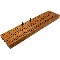 "Continuous 3 Track Hardwood British Cribbage Board - 30cm (12"")"