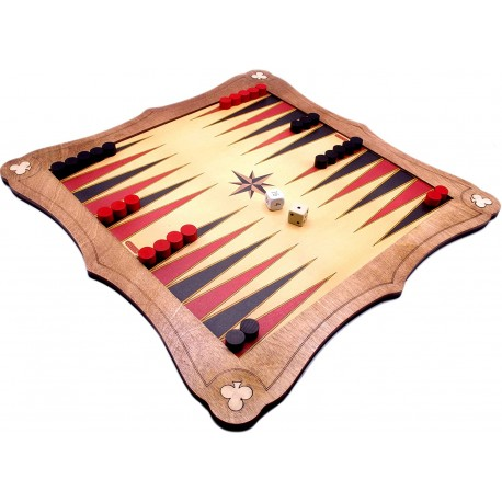 """40cm (15"""") Wooden Backgammon Board With Wooden Stones, Dice & Doubling Dice"""